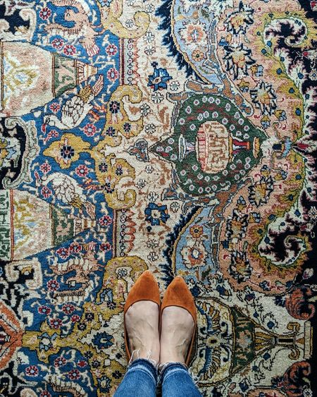 With a rug this pretty, you need to change your shoes when you take the photo 😆   Footwear aside, I'm obsessed with this #vintagerug. It took my master bedroom to an entirely new level!  #theeverygirlathome #flashesofdelight #currenthomeview @liketoknow.it   #liketkit #LTKhome #LTKshoecrush http://liketk.it/2GtSE