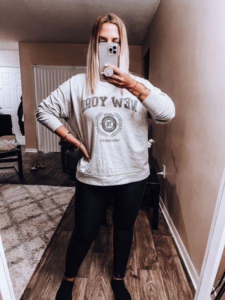 Cozy with my sweatshirt and Spanx leggings   #LTKSeasonal #LTKunder100 #LTKstyletip