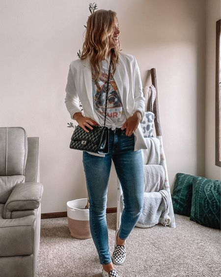 White blazer / def leopard tee / tall jeans / vans checkered shoes / black quilted bag / amazon outfits / amazon fashion   #LTKunder50 #LTKstyletip #LTKunder100