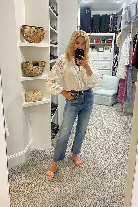White blouse, jeans and sandals under $50    #LTKunder50 #LTKstyletip #LTKshoecrush