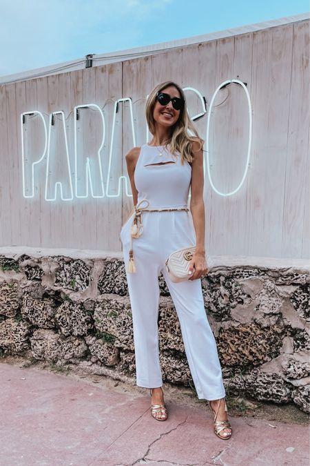Gorgeous white cutout jumpsuit, casual chic outfit, elegant jumpsuit, white jumpsuit, summer , dinner outfit, wedding guest outfit, Elegant white jumpsuit   #LTKstyletip #LTKtravel #LTKunder100