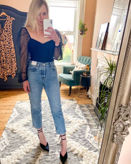 http://liketk.it/2PZXe #liketkit @liketoknow.it @liketoknow.it.family @liketoknow.it.home @liketoknow.it.europe #LTKstyletip #LTKunder50 #LTKeurope mesh sleeve body, jeans outfit, straight leg jeans, casual outfit, classy outfit,