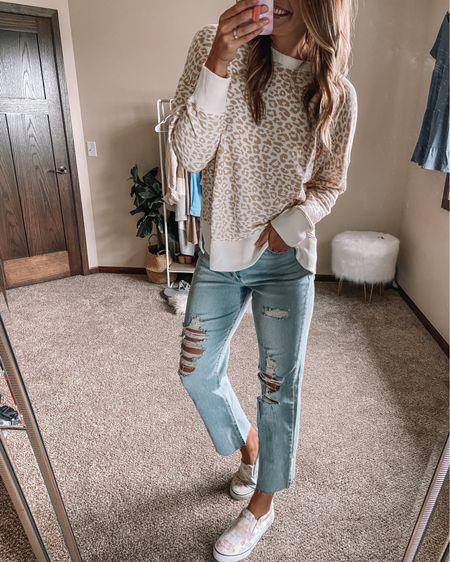 Cheetah Walmart $11 sweatshirt / straight leg LONG target jeans / tie dye sneakers Xl sweatshirt 10 long jeans 11 sneakers