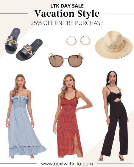 Vacation style on sale for 25% off for LTK Day! Love these rompers, jumpsuits, summer dresses, straw hat, slides, hoop earrings, and more.   #LTKstyletip #LTKsalealert #LTKtravel