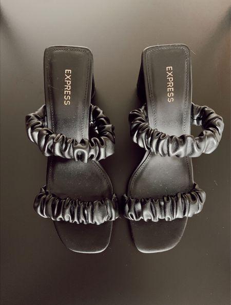 Fav sandals! Love the faux leather ruffle straps! Express summer sandals black sandals trending shoes block heel   #LTKshoecrush #LTKstyletip #LTKworkwear