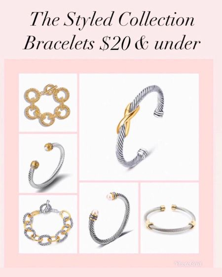 The styled collection David Yurman designer dupes now $20 and under - I wear mine all the time and they are great quality! They make great gifts too!   Jewelry  Bracelet  Gifts for her Gift ideas  David Yurman Dupes  Designer Dupes Gold jewelry  Bangles  Coin necklace  Bangles  Bracelet stack   #LTKsalealert #LTKunder50 #ltkday  http://liketk.it/3hxfB #liketkit @liketoknow.it