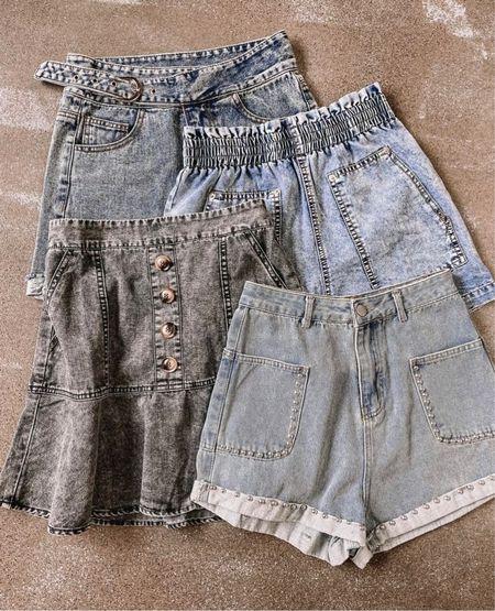 Jean shorts, denim shorts, denim, denim skirts, denim skorts, summer clothes, summer outfit, fall outfit, fall inspo, high waisted shorts, blue denim, black denim   #LTKstyletip #LTKunder100 #LTKsalealert