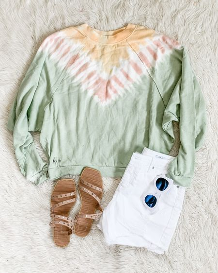 Here's the $6 tie dye sweatshirt from yesterday's Reel for those who prefer an old fashioned photograph 😆💕 It's seriously so cute and comfy with Free People vibes! I got the large and it's perfectly oversized. Paired with my favorite $24 denim shorts, I'm a size 6 in these. http://liketk.it/3kidx #liketkit @liketoknow.it #LTKunder50 #LTKsalealert #walmartfinds #walmartfashion #walmartclearance