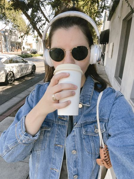 Missguided oversized denim jacket in blue from ASOS  Comfy / casual weekend outfit, fall / winter, spring / summer, urban outfitters, Amazon headphones, gold jewelry, Etsy votes for women budget friendly tote, rayban sunglasses from Nordstrom, claw clip from Amazon, sneakers   #LTKstyletip #LTKunder50 #LTKunder100