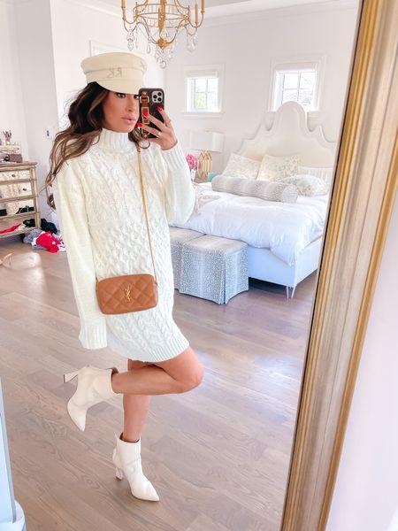 Fall Fashion, Fall Outfit Ideas, Fall Boots, YSL handbag, Fall Hats, Sweater Dress, Fall Sweater Dress, Fall Date Night Outfit, Fall Try On Haul, Emily Ann Gemma http://liketk.it/3owAM    #LTKstyletip