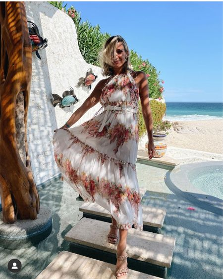 I Kristin Cavallari's floral maxi dress and braided slides http://liketk.it/3hSqi #liketkit @liketoknow.it #LTKtravel #LTKwedding #LTKstyletip