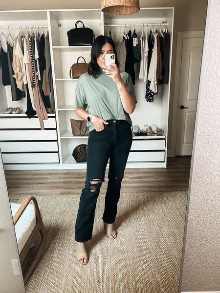 Nordstrom Try on!   I'm in the 29 of the Agolde jeans. They are 100% cotton, no stretch so I always size up. They stretch with wear but not in a whole size kind o a way. Fit is more of a straight leg than a true flare. It's tighter at the hips / waist.   I'm in the small of this top — it runs loose so I like to size down so it will fit shorter / more fitted than intended. Comes in lots of colors!