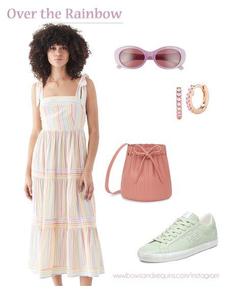 Rainbow striped dress. Pastel accessories. Pink bucket bag. Mint sneakers. Lavender sunglasses. Huggie earrings   #LTKstyletip