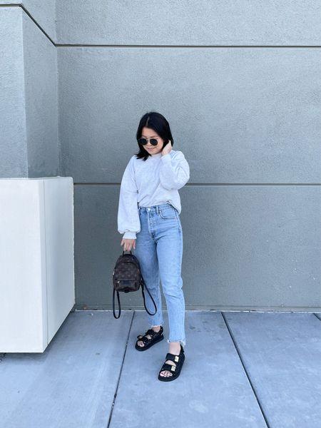 Grey pullover sweatshirt (size XS), jeans (TTS, size 25), black quilted sandals (dupe for the Chanel dad sandals! TTS)    #LTKunder100 #LTKshoecrush