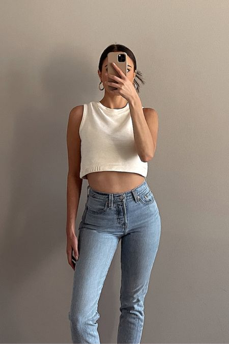 OOTD   AllSaints crop top   Jones Hoops by 8 Other Reasons   Levi's wedgie fit jeans   spring and summer outfit inspo   summer fashion, high neck sporty crewneck crop top, sweatshirt tank, loungewear, all saints http://liketk.it/3fzX7   #liketkit @liketoknow.it #LTKunder50 #LTKunder100 #LTKstyletip