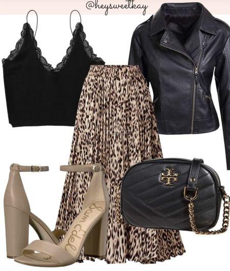 Fun outfit idea for fall from Amazon. #black #neutrals #leatherjacket #fallfashion #founditonamazon #fauxleather #heels #skirrs   #LTKtravel #LTKshoecrush #LTKcurves
