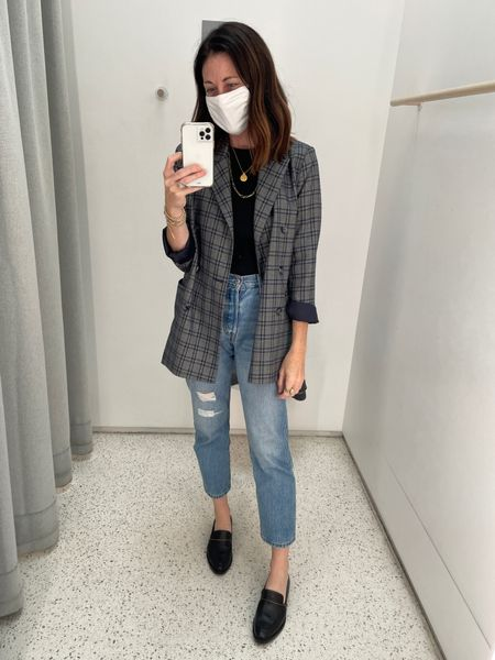 Jeans - Levi's true to size Jacket - old some similar linked here Shoes - Freda Salvador- 15% off with code CONNI15  Shirt - sold out nyc - CONNIVIP20 for 20% off   #LTKshoecrush #LTKsalealert #LTKstyletip