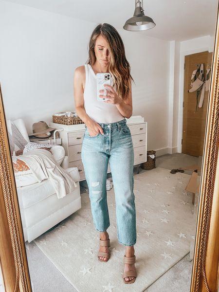 top runs tts • jeans run tts • 5'3 for reference • shoes run tts —— nsale, white tank top, mom jeans, distressed denim, Levi's, Nordstrom Sale   #LTKunder50 #LTKunder100 #LTKsalealert