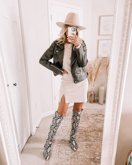 Fall look from the Nordstrom sale! Fitted beige dress and olive faux leather jacket Shop your screenshot of this pic with the LIKEtoKNOW.it shopping app http://liketk.it/3l09Z @liketoknow.it #liketkit #LTKstyletip #LTKunder100 #LTKsalealert