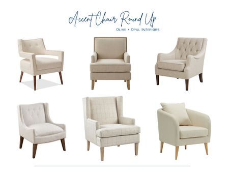 Check out our neutral accent chair round up.  Living room, home decor, accent chairs, living room seating, neutral decor, affordable home decor  #LTKhome