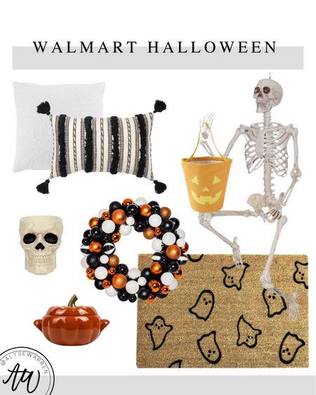 Halloween decor available at Walmart!  Sherpa pillow, lumbar pillow, sofa, couch, living room, bedroom, poseable skeleton, candy pail, trick-or-treating, Halloween wreath, doormat, front door, skeleton, skull, candy dish, pumpkin baking dish, Walmart Home  #LTKSeasonal #LTKhome