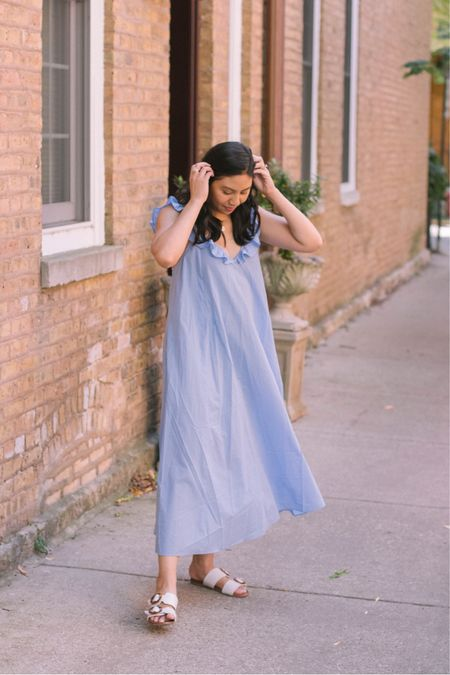 Ruffled maxi dress that can also be worn as a swimsuit coverup. Fits true to size and km wearing a small. It's under $20. This is also a great vacation dress for a tropical getaway.   #LTKstyletip #LTKunder100 #LTKunder50