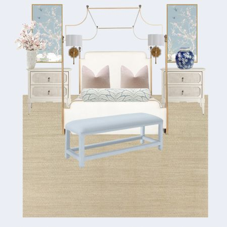 A beautiful primary bedroom with chinoiserie panels! A light and airy bedroom is always in style!   #LTKhome