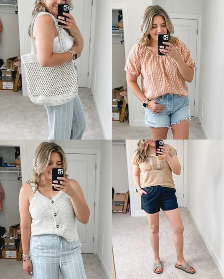 Madewell sale favorites. Up to 30% off sale. Beaded tote bag, embroidered top, button front sweater tank, pull-on shorts. @madewell sale picks. #madewell #everydaymadewell @liketoknow.it http://liketk.it/3hhXX #liketkit #LTKsalealert #LTKunder100 #LTKunder50