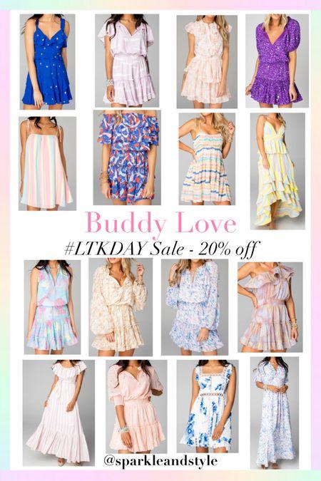 LTK Day Sale: Buddy Love - 20% off   http://liketk.it/3hvy0 @liketoknow.it #liketkit #LTKDay #LTKunder100 #LTKsalealert   Summer dresses, spring dresses, wedding guest dresses, wedding guest style, off the shoulder dress, ruffle dress, tiered dress, striped dress, floral dress, star print dress, metallic print dress, purple dress, blue dress, pink dress, yellow dress, maxi dresses, mini dresses, one shoulder dress