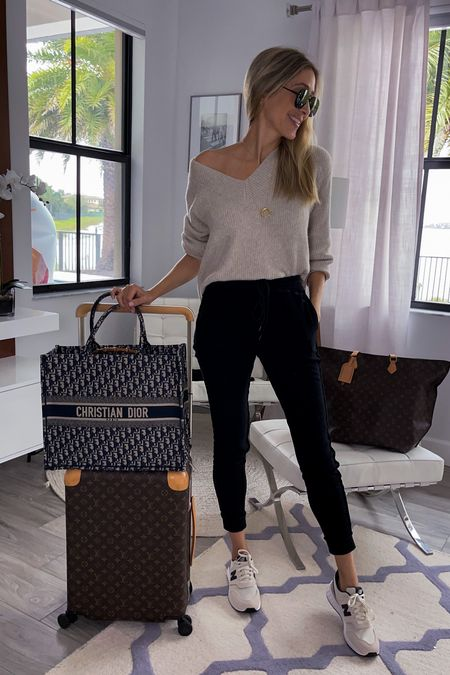 Airport outfit ideas, casual and comfy , airport fashion , butter soft joggers , off the shoulder sweater, Nb sneakers   #LTKtravel #LTKsalealert #LTKunder100