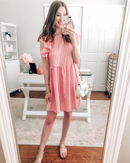 Amazon dress wearing size XS runs a little big http://liketk.it/3ijta #liketkit @liketoknow.it  Amazon dresses Amazon pink dress Amazon pinstripe dress Amazon outfit