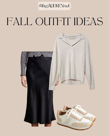Fall outfit ideas polo pullover silk black skirt anine Bing dad sneakers vintage  #LTKmens #LTKfit #LTKbump