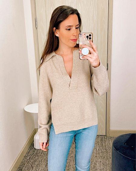Nanushka sweater in size XS, ribbed sweater, cashmere sweater, beige sweater, v neck sweater, ribbed sweater, Nordstrom Sale, NSale, fall outfit, casual outfit, frame skinny jeans in size 26,   #LTKstyletip #LTKsalealert