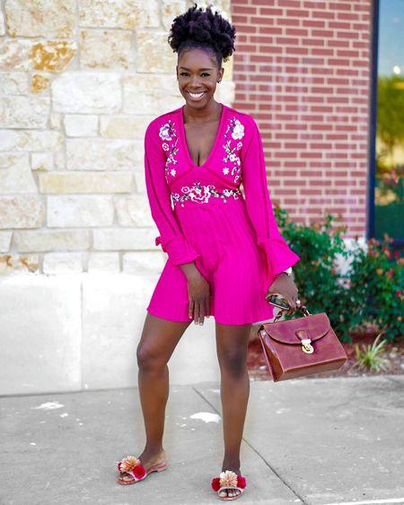 Summer dress; Embroidered pleated mini hot pink dress from ASOS http://liketk.it/2QLwI @liketoknow.it   #summerdress #summerlook #summerfashion