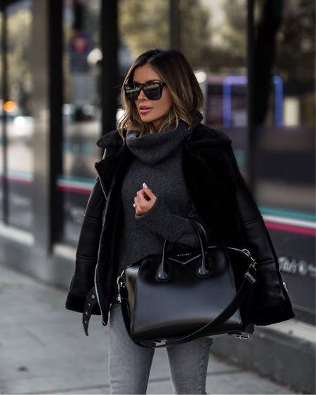 Casual fall outfit  Shearling biker jacket  Nordstrom cowl neck sweater  Gray jeans Givenchy Antigona Handbag