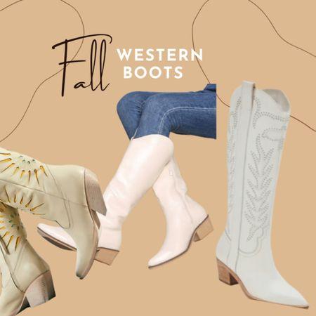 Splurge western boots White boots Cowboy boots Fall style   #LTKHoliday #LTKshoecrush #LTKSeasonal