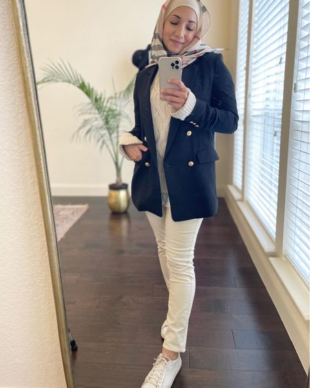 Creamy whites for winter are so underrated!  I love how this blazer gives such a chic touch to the outfit.  Similar blazer on sale at Gap!   #LTKstyletip #LTKunder100 #LTKsalealert
