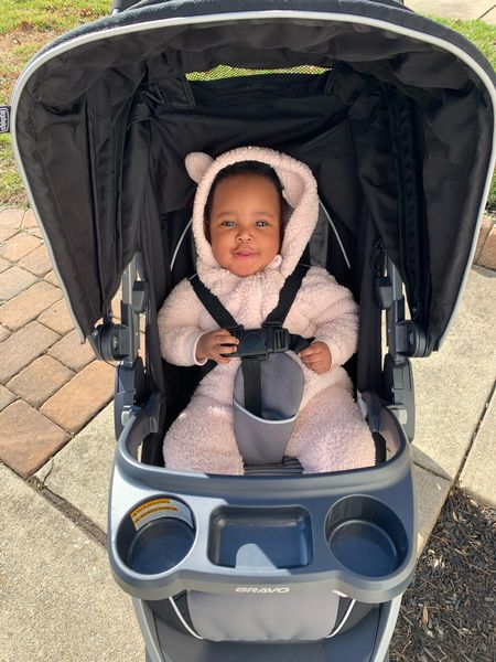 """Can't close out November without recognizing our now 10 month old! She can crawl, eat table food, and says """"Hi Dada!"""" 😒🤣  She also loves strolling through our new neighborhood! Averie's sherpa and a few other options like it are currently 50% off! Visit my LiketoKnowit link in my bio to grab one for your little 🥰    #LTKunder50 #LTKbaby #LTKkids"""