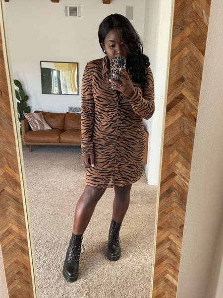 Animal print dress with doc marten boots!
