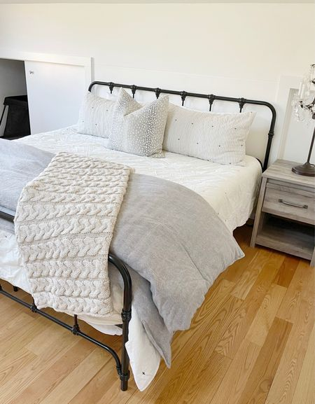 H O M E \ transitions our gym to a guest bedroom for the next week! Sharing this #farmhouse frame and bedding here!  #bedroom #bed #bedding   #LTKhome
