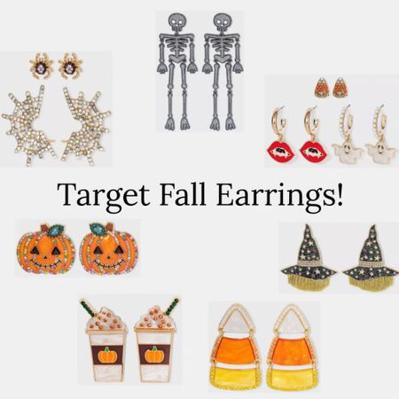 Target has the cutest fall and Halloween earrings right now, all under $15! Linking my favorites  . Target finds fall jewelry Halloween jewelry pumpkin jack o lantern spider skeleton vampire candy corn PSL witch hat earrings target style   #LTKSeasonal #LTKunder50