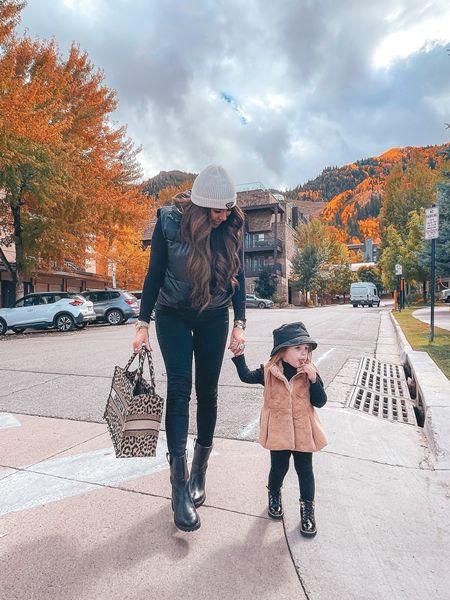 Fall Outfits, Fall Fashion, Prada Hat, Little Girls Fashion, Dior Handbag, Boots, Fall Shoes, Puffer Vest, Turtleneck Bodysuit, Coated Denim, Aspen, Emily Ann Gemma http://liketk.it/3oK8l    #LTKstyletip