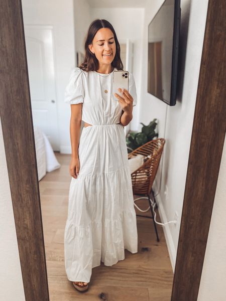 """Dreamy maxi dress with cutouts — also comes in black 🖤🤍 I tried on both of my usual sizes and went with the smaller one since I'm short (5'4"""") 👍🏼  Wearing old platform sandals but likely would hem this so I could wear it more!  #LTKSeasonal"""