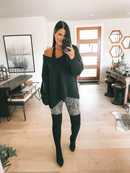 My black free people sweater is on sale for $67 from $128. I'm wearing the XS and it comes in 4 colors. I linked my black lace Bralette. My otk boots, over the knee boots are 40% off with code ASHLEYH40. Go up to your next full size.  These snake printed leggings are spanx faux leather leggings new arrivals! I'm wearing a small. Use code DTKxSPANX for 10% off your order.    #LTKstyletip #LTKsalealert #LTKunder100