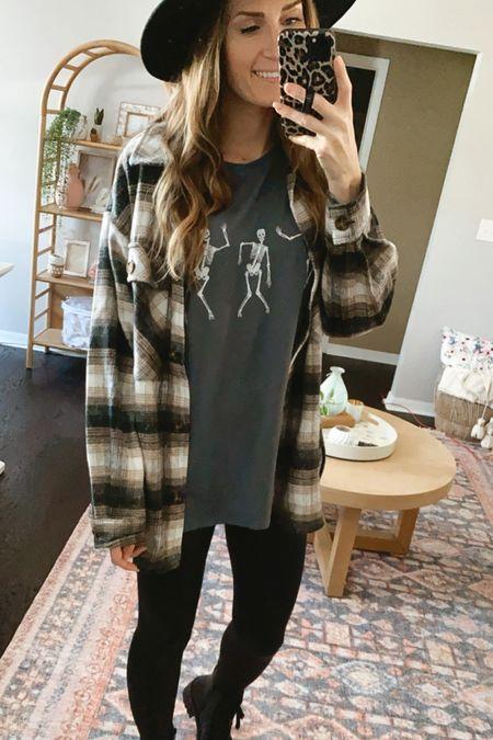 Fall fashion. Halloween fashion. Skeleton shirt. Halloween graphic tee. Target outfit #targetfashion #targetfinds #targetstyle #targetshacket #shacket #fauxleatherleggings #liquidleggings #targetoutfit #affordablefashion #targetfallfashion  **sizing: shacket- small | tee- s/m | leggings- small | boots- 8.5 |    #LTKsalealert #LTKSeasonal #LTKunder50