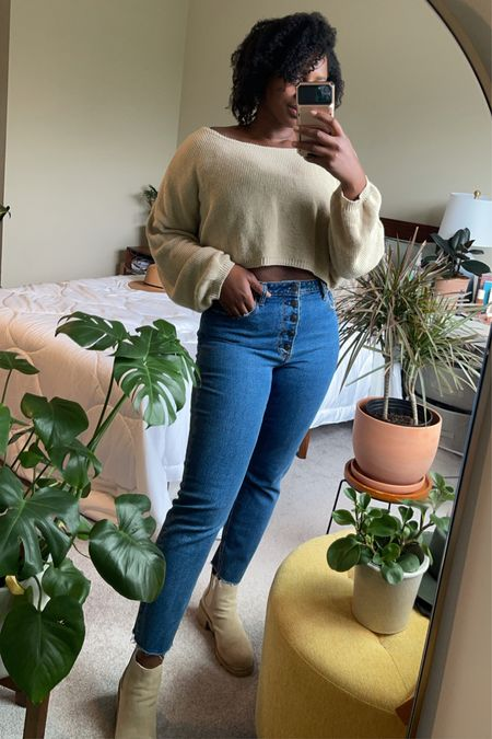 Abercrombie mom high rise jeans from curve love paired with cropped sweater and lug sole boots. Loving this oatmeal beige color for the fall   #LTKshoecrush #LTKcurves #LTKSeasonal