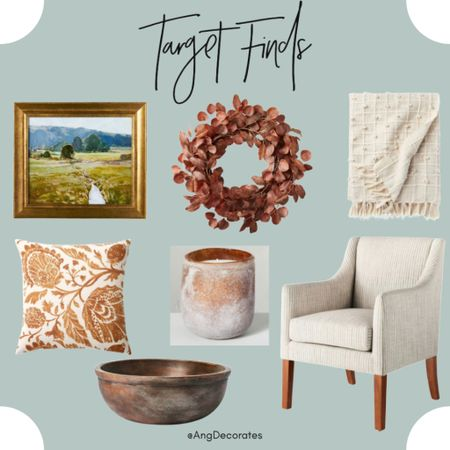 Favorite Fall finds from target     Wall art wreath throw pillow blanket arm chair candle decorative bowl  #LTKSeasonal #LTKhome