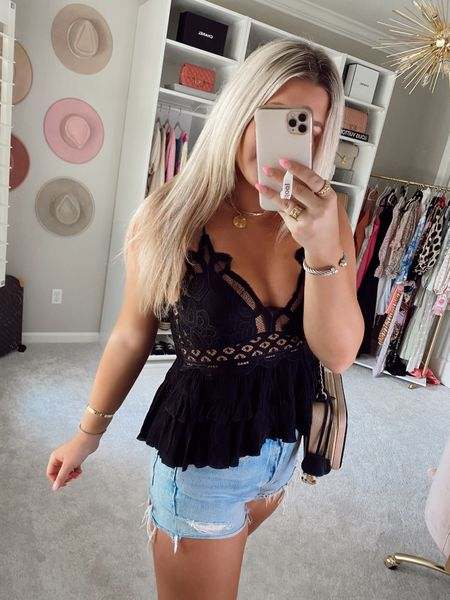 Top - large Code SIDNEY15 for 15% off   @liketoknow.it http://liketk.it/3hCi2 #liketkit #LTKstyletip #LTKunder50 #LTKtravel   Blank tank / black top Lace detailed top Summer outfit  Vacation outfit  Denim shorts  Casual outfit inspo