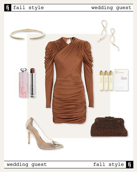 Wedding guest dress fall outfit idea #weddingguest #falldresses   #LTKwedding #LTKunder100 #LTKstyletip