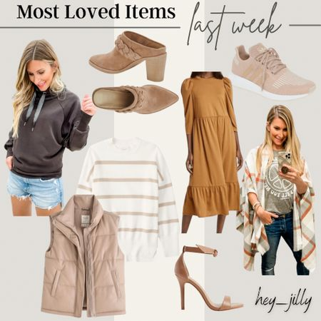 Most loved items last week include the softest hoodie/sweatshirt, the coolest faux leather vest, flannel shawl wrap, my new fav booties, and fall dresses.    #LTKshoecrush #LTKSeasonal #LTKstyletip